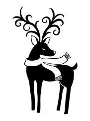 5313E - reindeer wearing scarf