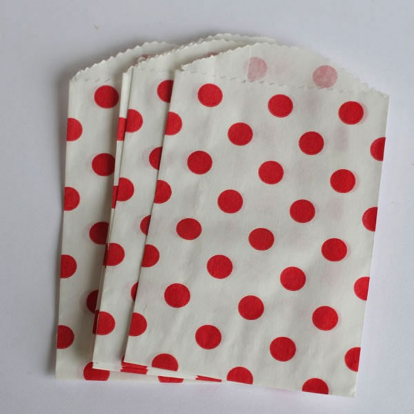 Mini polka dot bags - red