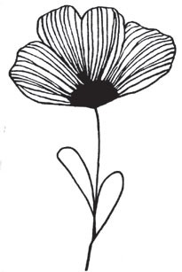 lined flower with stem (1492i)