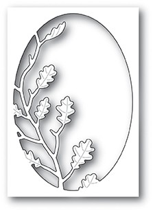 Poppystamps Oak Leaf Oval Collage craft die 1949