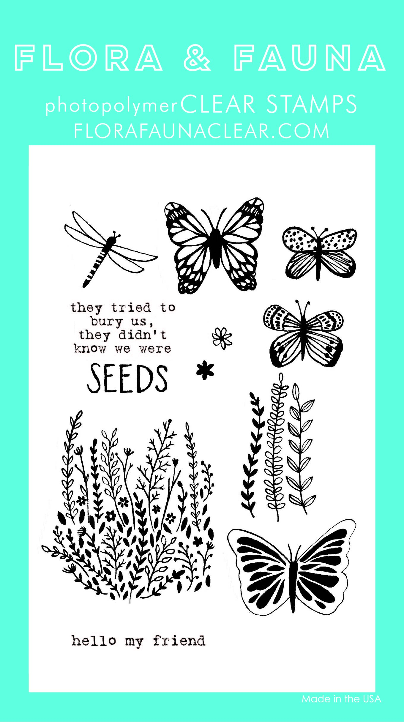 Flora & Fauna Wildflower Seeds Clear Stamp Set