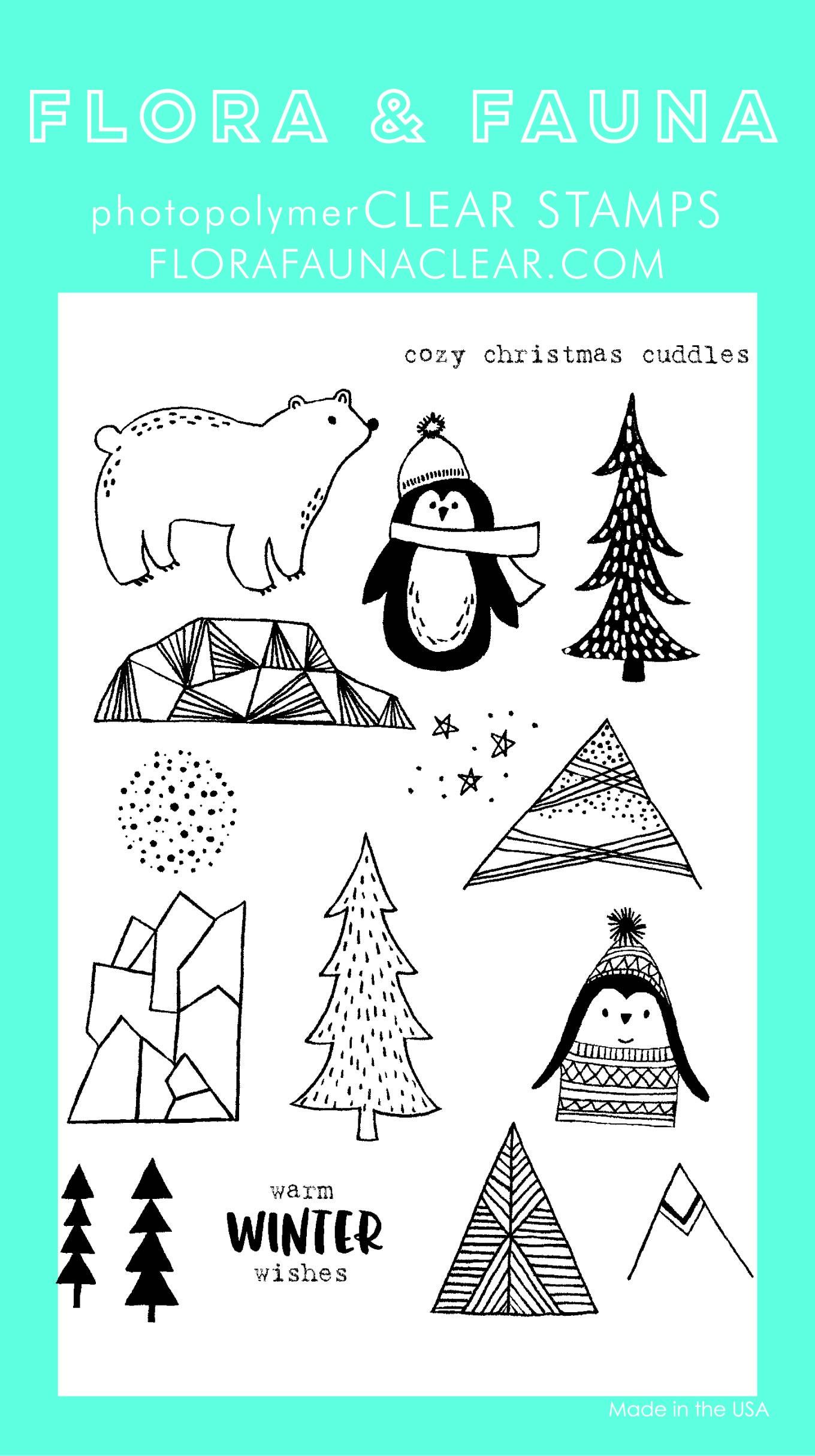 Flora & Fauna Cozy Cuddles Penguin Clear Stamp Set