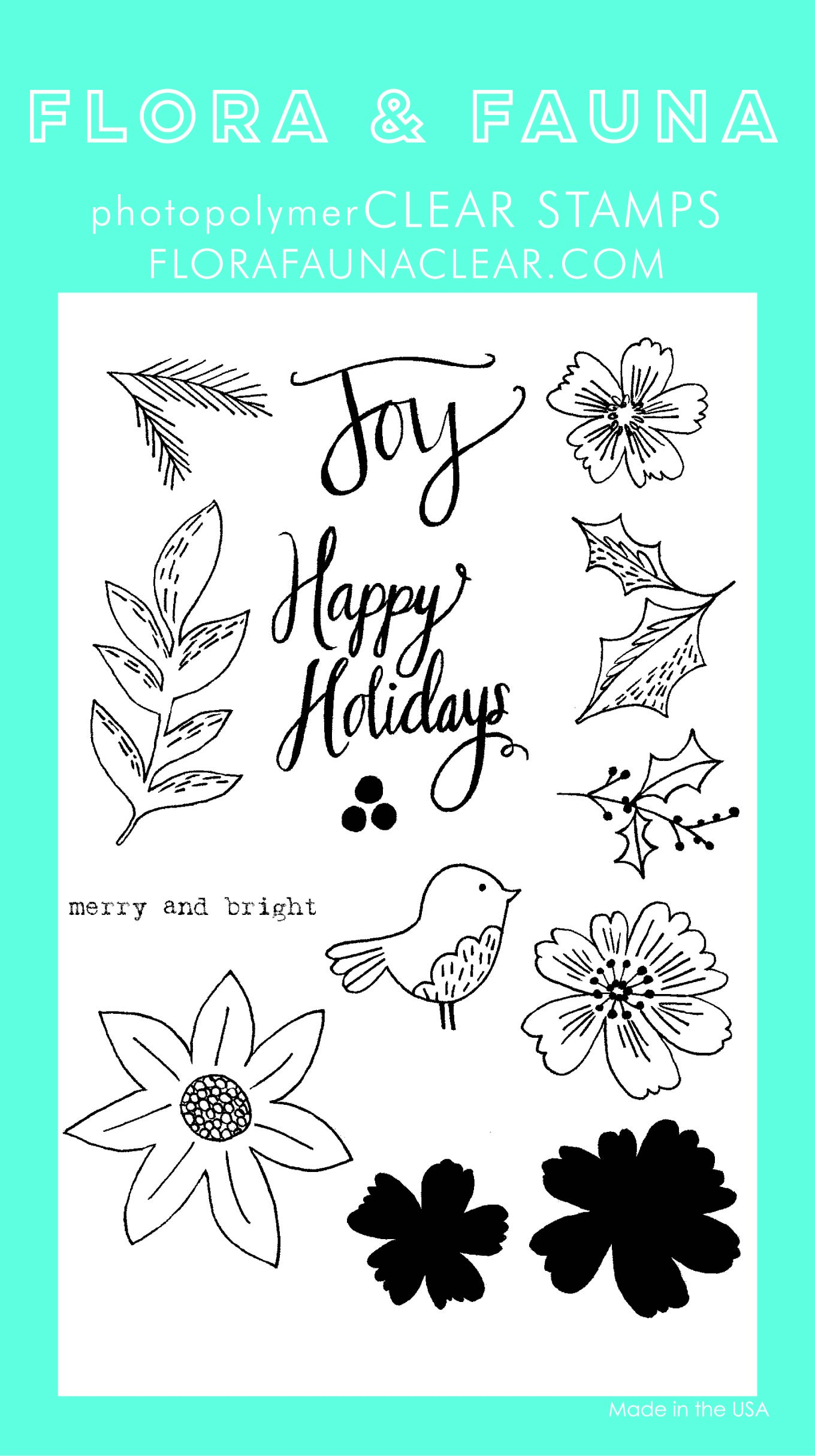Flora & Fauna Floral Happy Holidays Clear Stamp Set