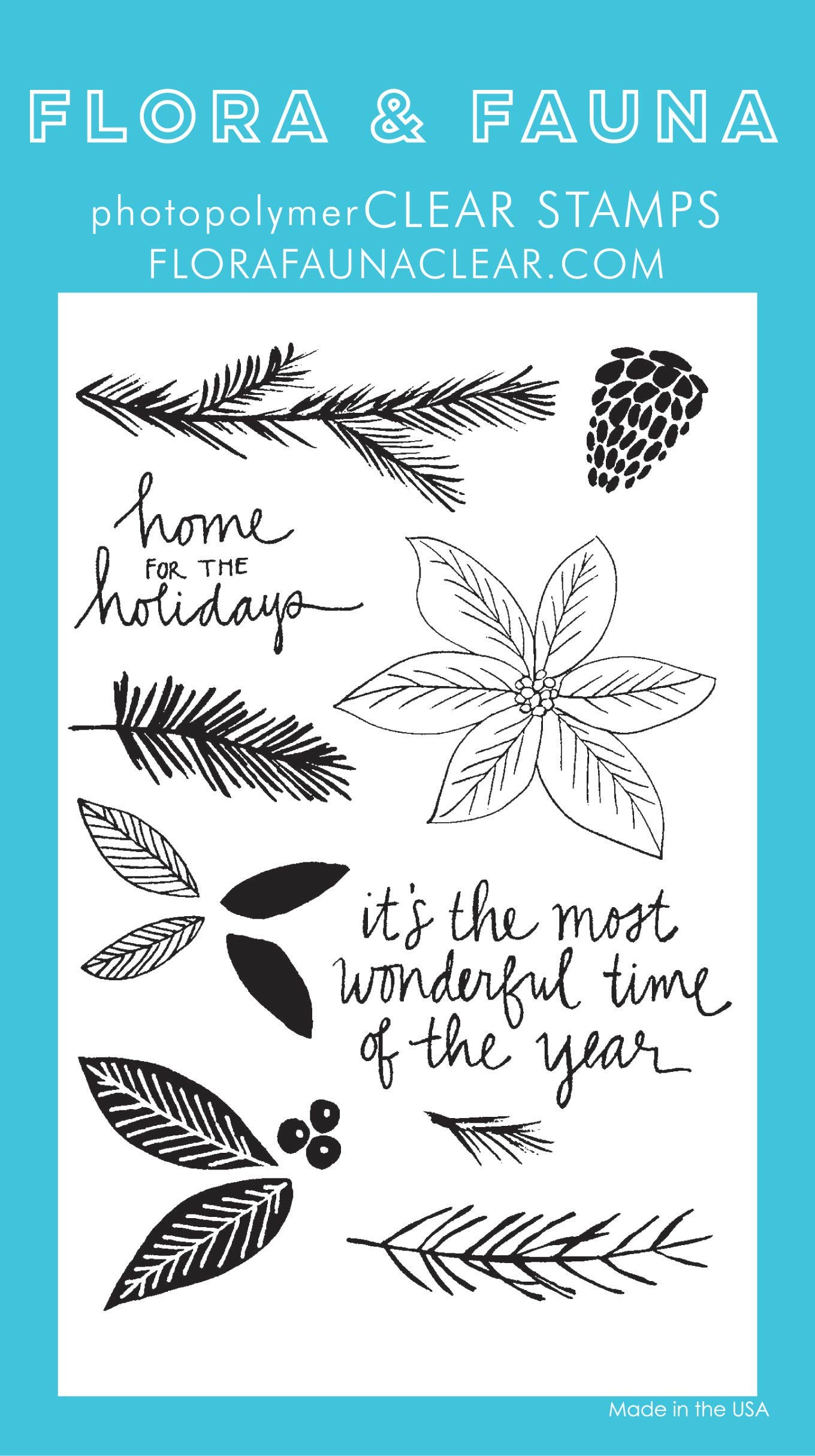 Flora & Fauna Poinsettia Watercolor Clear Stamp Set
