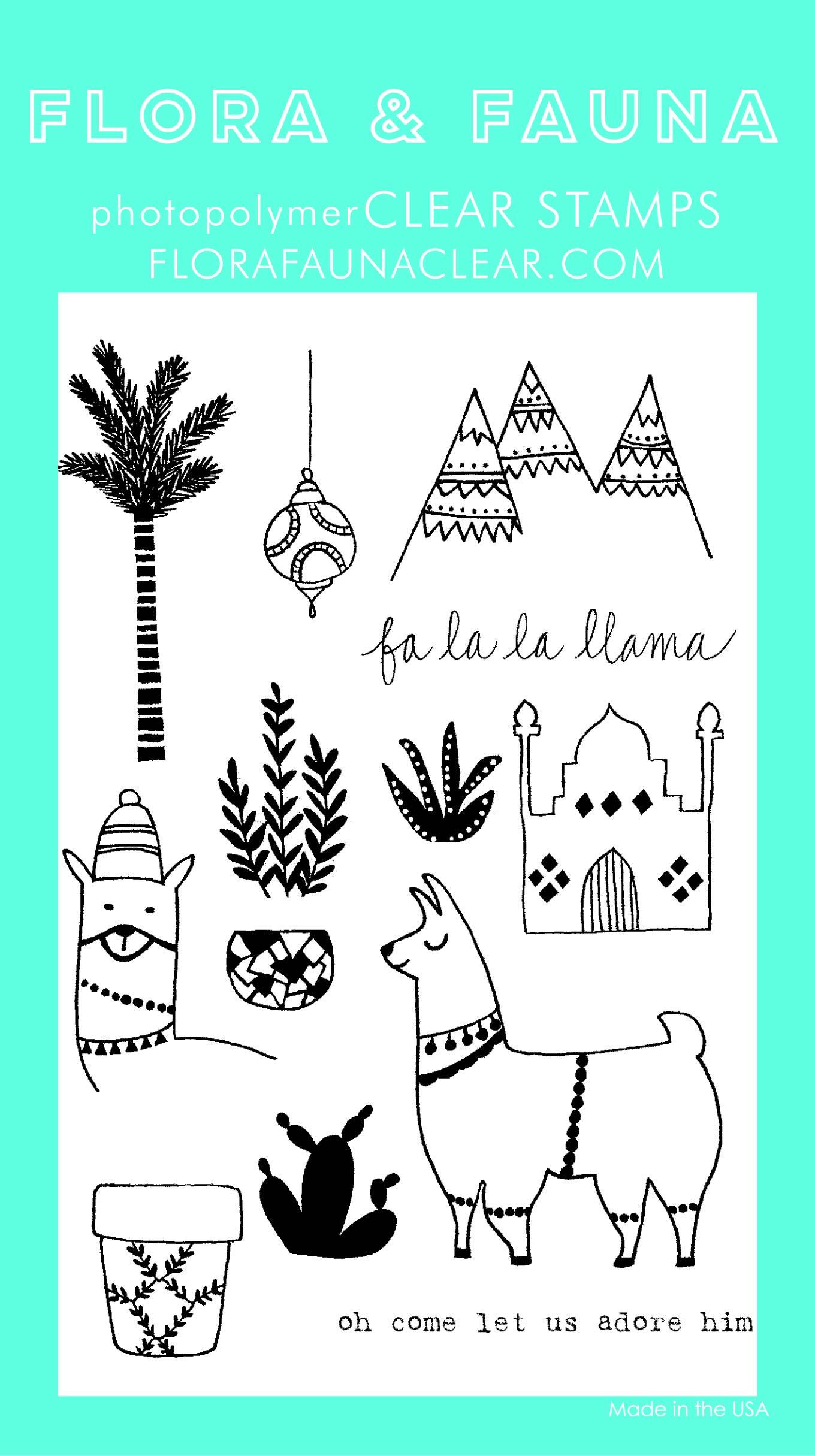 Flora & Fauna Fa La La Lama Clear Stamp Set