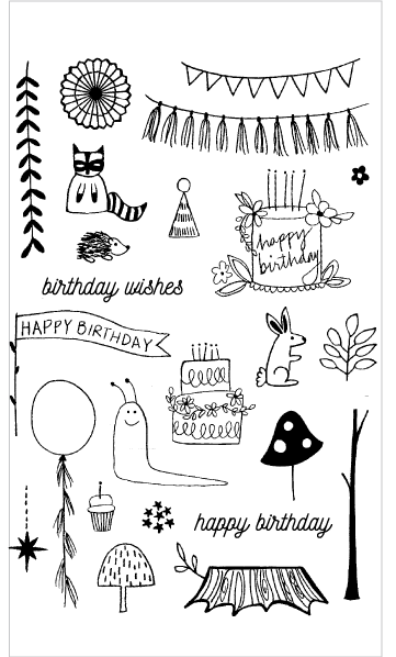 Flora and Fauna Woodland Birthday Clear Set
