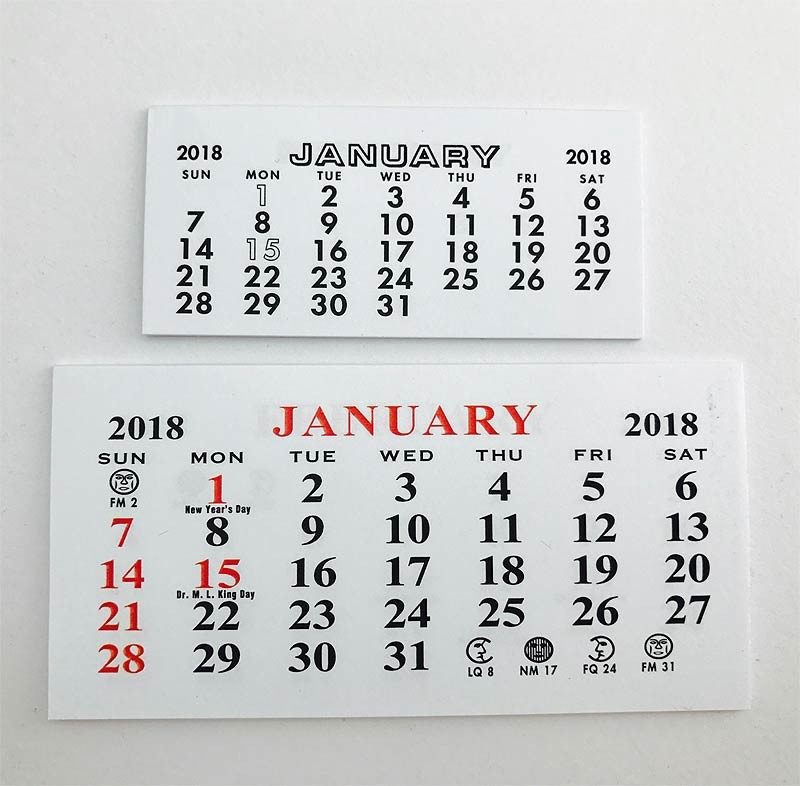2018 Mini Calendars