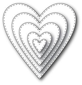 Memory Box Stitched Heart Layers (30013)
