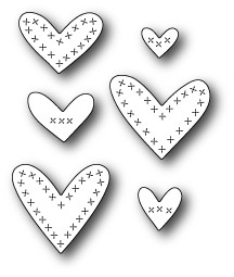 Memory Box Cross Stitched Hearts (99125)