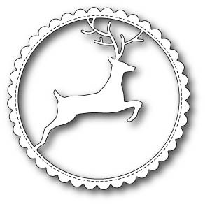 Reindeer Scalloped Circle Frame craft die (99502)