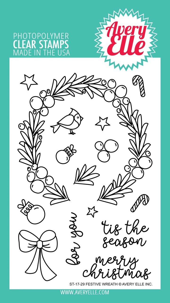 Avery Elle Festive Wreath Clear Stamp Set