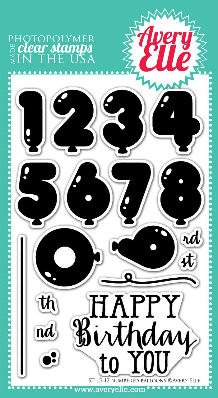 avery elle numbered balloons clear stamps