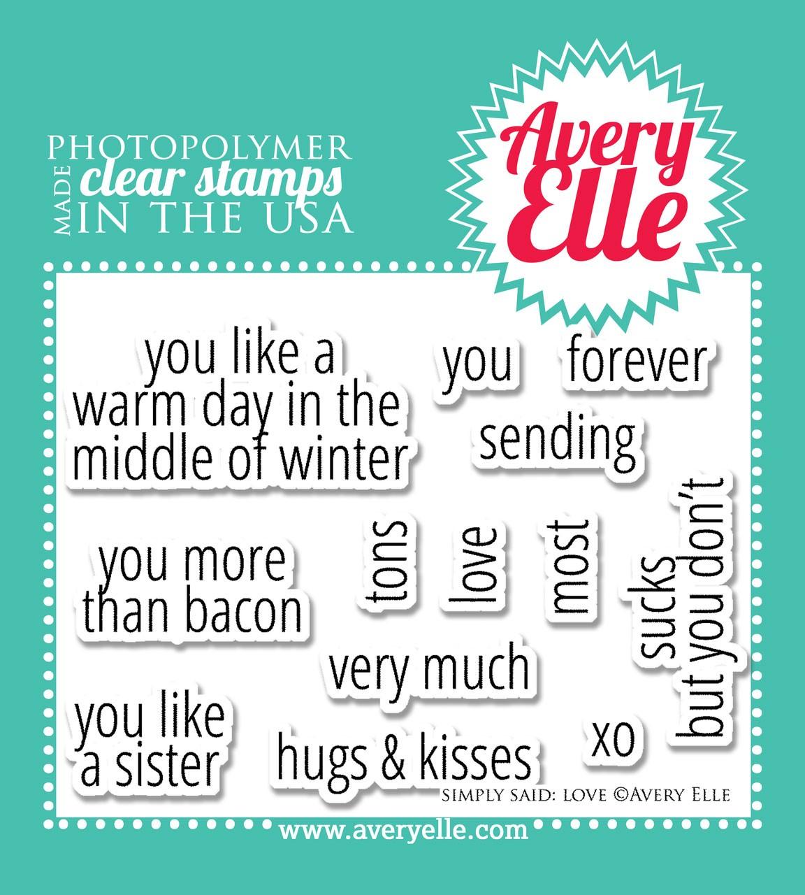 Avery Elle Simply Said Love Stamp Set