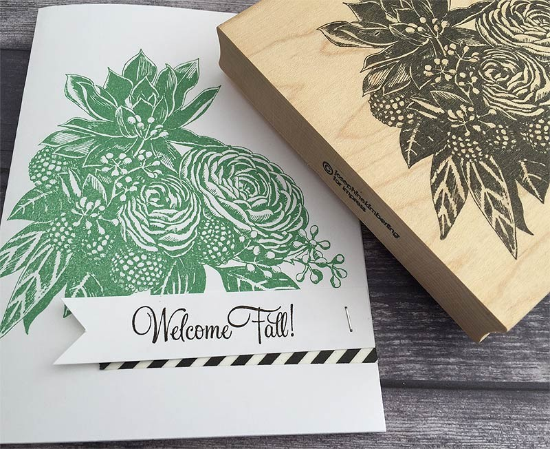 Pen and ink Bouquet Rubber Stamp - 5578k