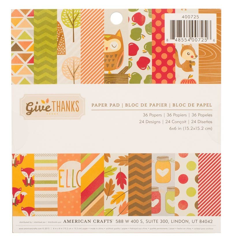 American Crafts Give Thanks 6x6 Paper Pack