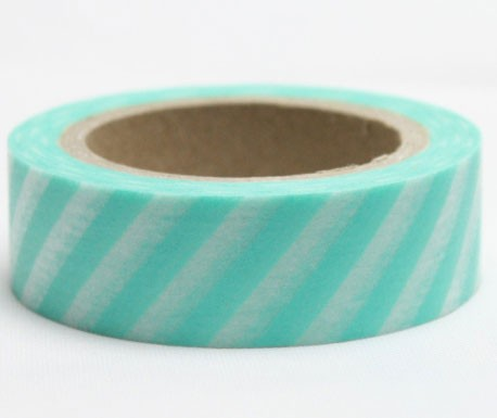 Aqua Diagonal Stripe Sashi Tape