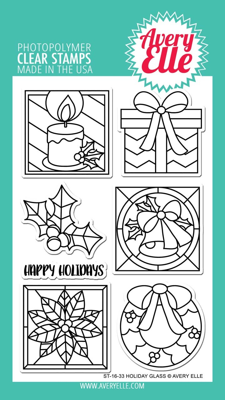 Avery Elle Holiday Glass Clear Stamps
