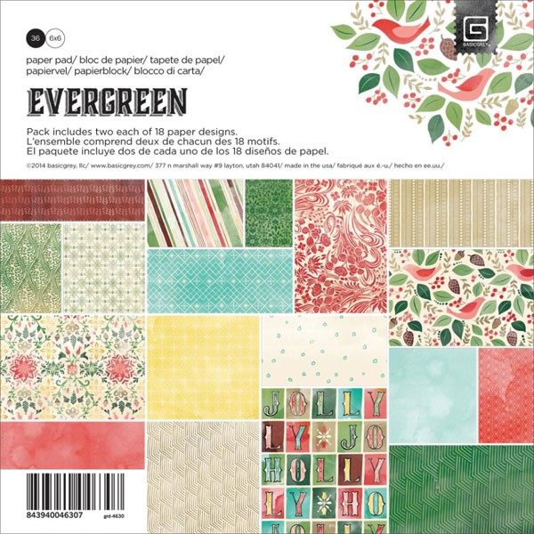 Basic Grey Evergreen 6x6 paper pack