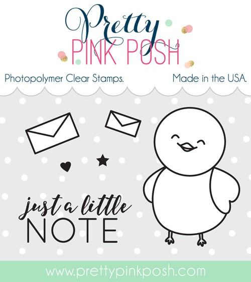 Pretty Pink Posh Birdie Notes Clear Stamp Set