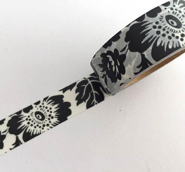 Black on White Floral Washi Tape