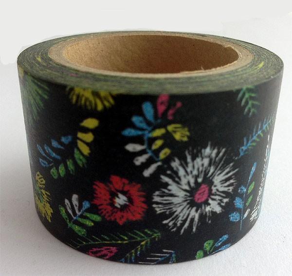Black With Large Flowers Washi Tape