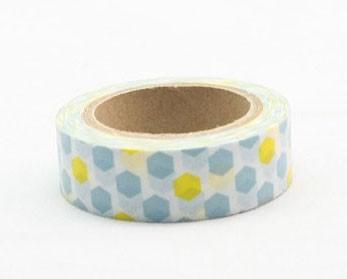 Blue and Yellow Hexagon Washi Tape
