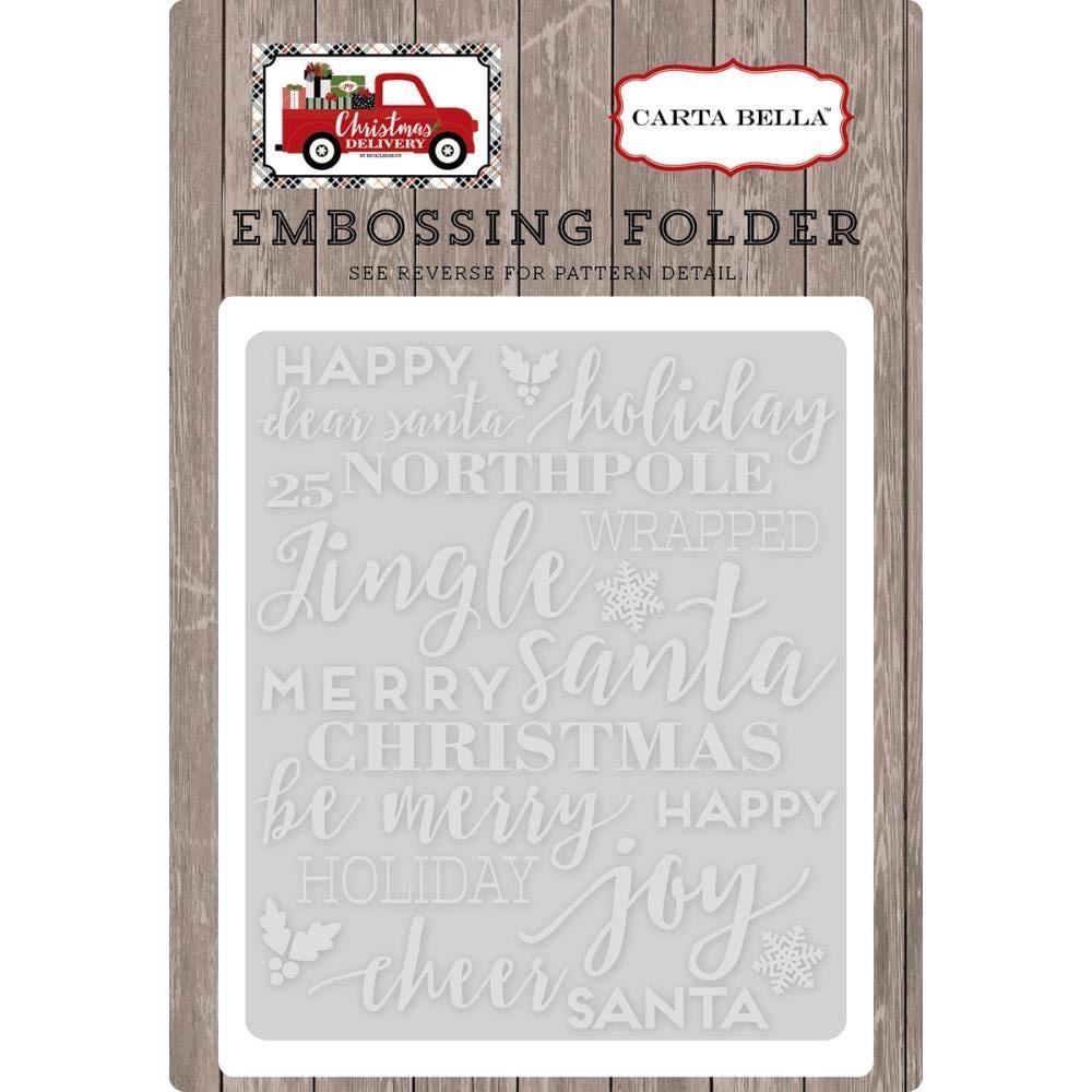 Carta Bella holiday Phrases Embossing Folder