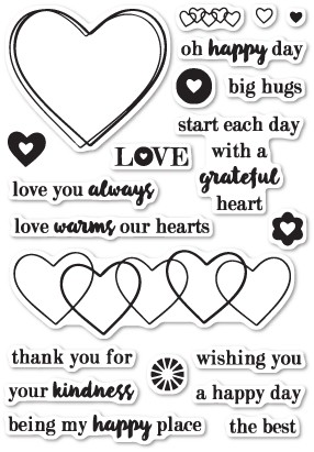 Poppy Stamps Grateful Heart clear stamp set (CL443)