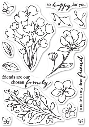 Friends and Flowers clear stamp set (CL444)