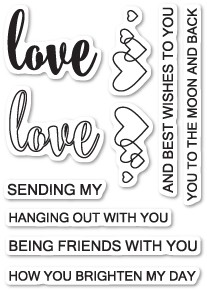 Poppystamps Sentiments of Love clear stamp set (cl450)