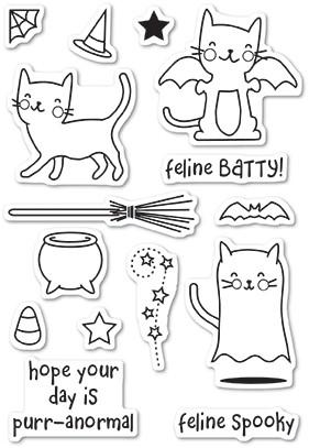 Poppystamps Feline Spooky clear stamp set CL60