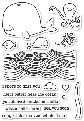Memory Box Whale Hello There clear stamp set (cl5200)