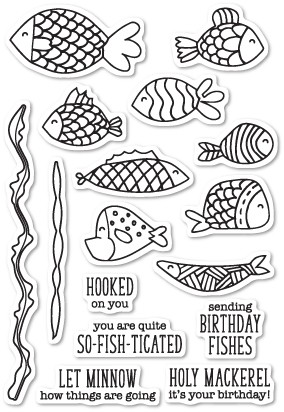 Memory Box Fish Tales Clear Stamp Set (cl5203)