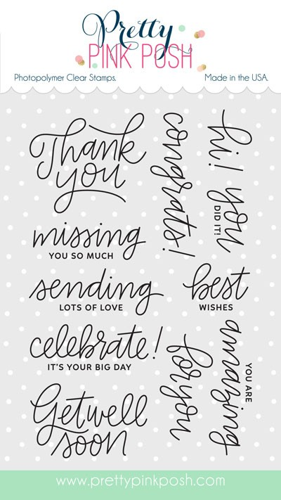 Pretty Pink Posh Everyday Greetings Clear Stamp Set