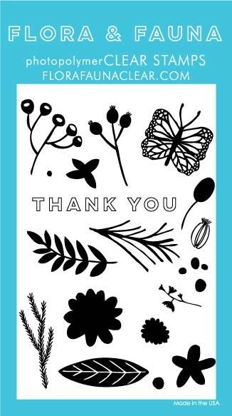 Flora & Fauna Graphic Flower Clear Stamp Set