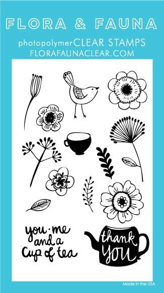 Flora & Fauna You, Me and Tea Clear Stamp Set