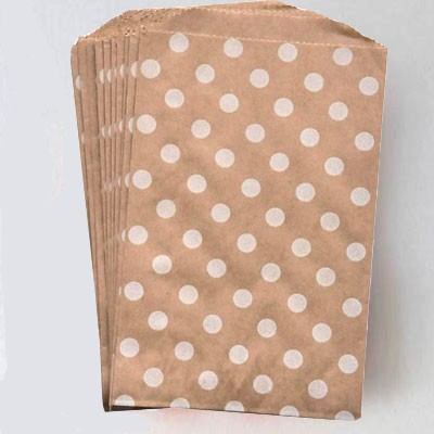 Middy bags - kraft w/white dots