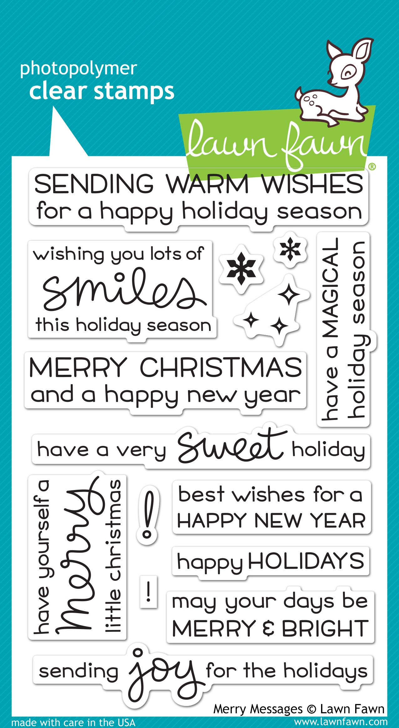 Lawn Fawn Merry Messages Clear Stamp Set