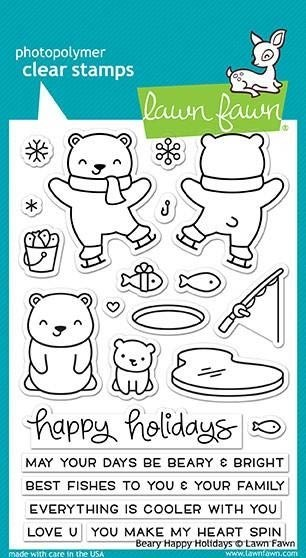 Lawn Fawn Beary Happy Holidays Clear Stamp Set