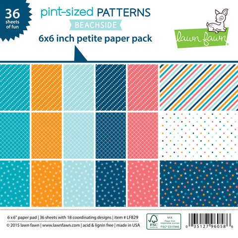 Lawn Fawn 6x6 - pint-sized patterns: beachside petite paper pack