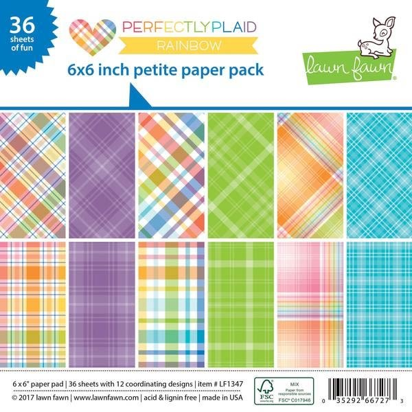 Lawn Fawn Rainbow Perfectly Plaid 6x6 Paper Pack