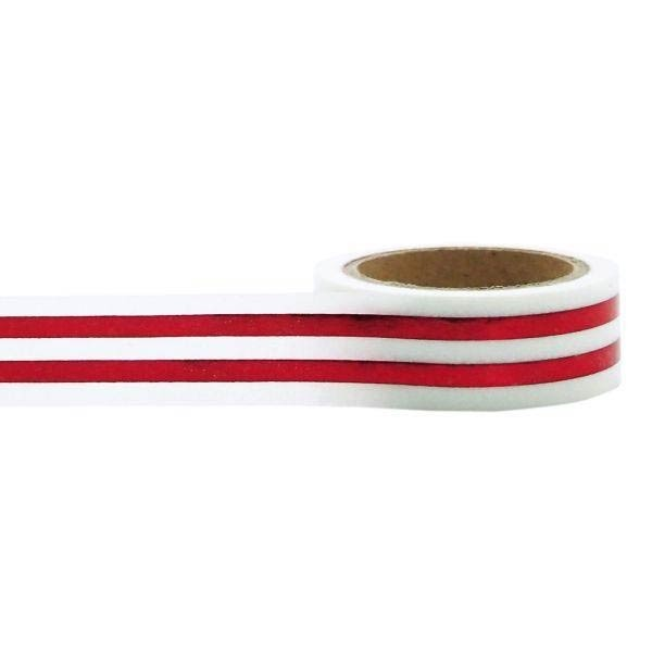 Red Foil Bold Stripes Washi Tape