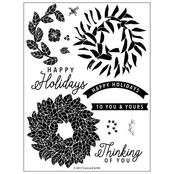 Concord and 9th Magnolia Wreath Clear Stamp Set