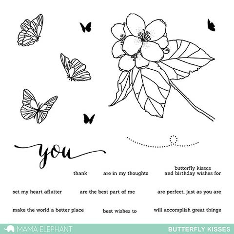 Mama Elephant Butterfly Kisses Clear Stamp Set