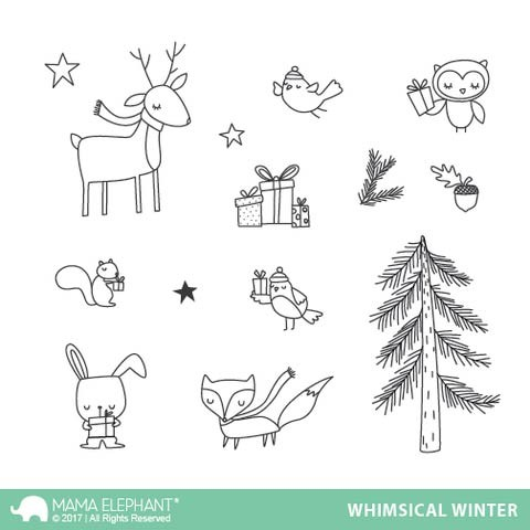 Mama Elephant Whimsical Winter Clear Stamp Set