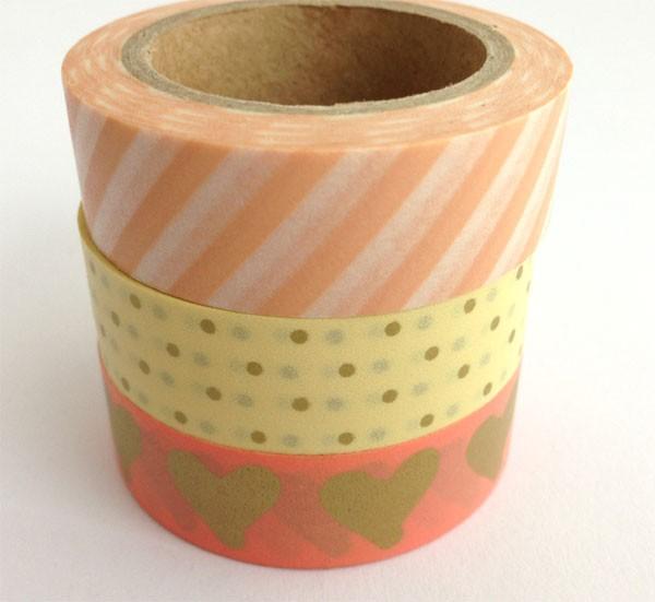 Washi tape trio - melon hearts, stripe, gold dots
