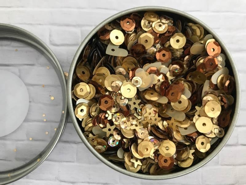Gold Metallic Sequin Tin