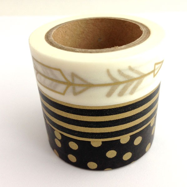 washi tape trio - black and gold arrow, dots and and stripes