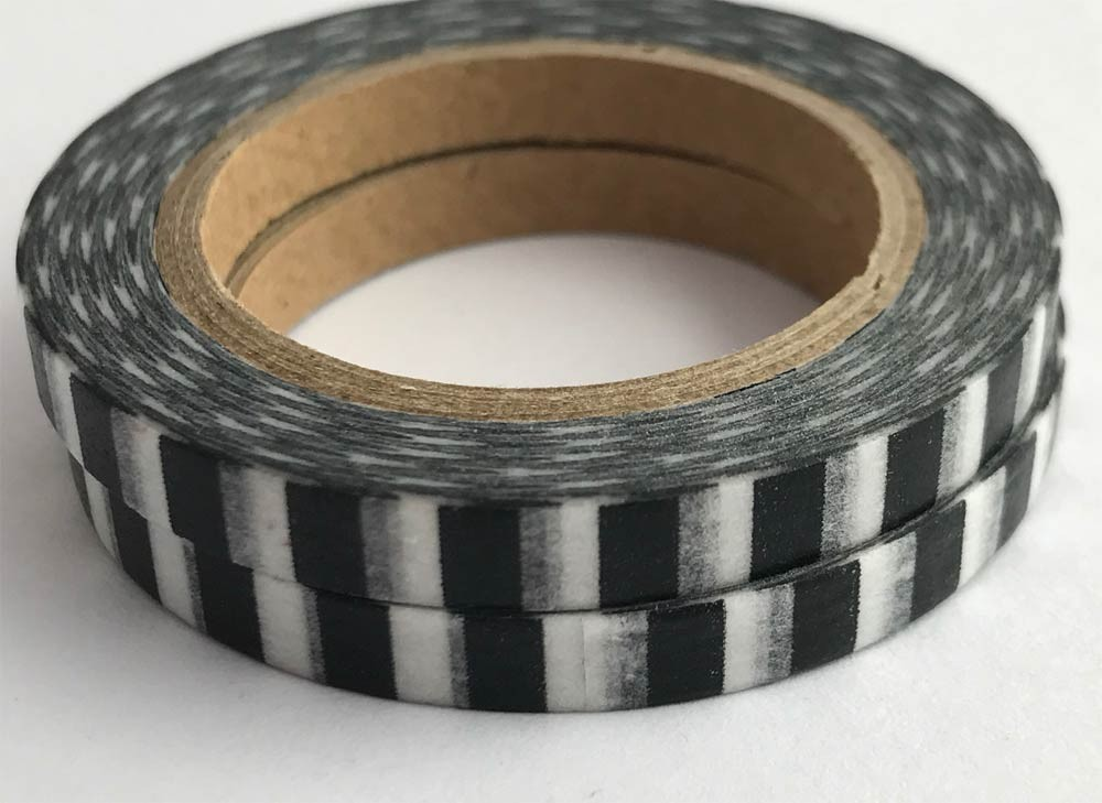 Narrow Black and White Cross Stripe Washi Tape