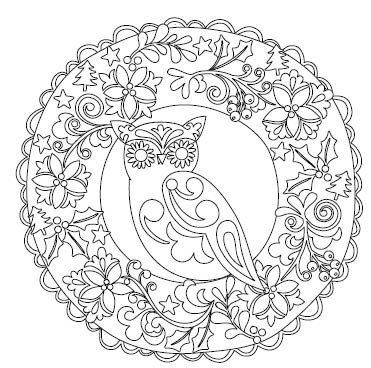 5595g - owl in wreath coloring book
